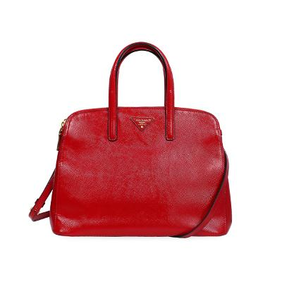 leather tote bag red